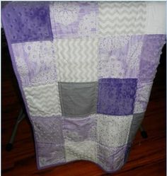 SALE Baby Quilt Lap Quilt Throw Purple Gray White by QuiltsbyDSJ