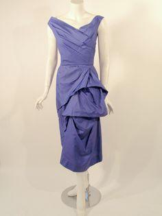 Ceil Chapman Purple Vintage Cocktail Dress w/ Pleated Bodice