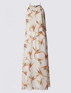 Bird of paradise print dress