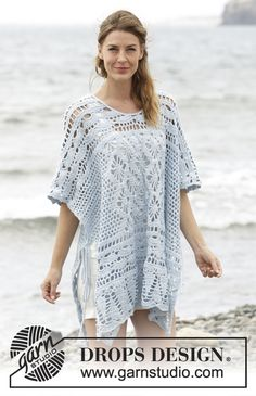 "rochet DROPS poncho with lace pattern, worked top down in ""Cotton Merino"". Free Pattern"