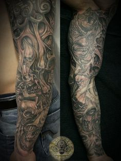sleeve horror skull characters by 2Face-Tattoo on deviantART