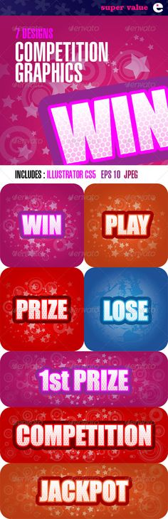 Realistic Graphic DOWNLOAD (.ai, .psd) :: http://jquery-css.de/pinterest-itmid-1002204769i.html ... Competition Graphics Panels – Pack of 7 Designs ...  alert, casino, competition, editable, gambling, graphics, icon, illustration, jackpot, lose, message, pack, play, player, prize, set, stars, text, vector, win, winner  ... Realistic Photo Graphic Print Obejct Business Web Elements Illustration Design Templates ... DOWNLOAD :: http://jquery-css.de/pinterest-itmid-1002204769i.html