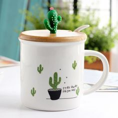 Material: Ceramic/Porcelain Accessories: With Spoon Type: Coffee Mugs Certification: CE / EU,CIQ Feature: Eco-Friendly,Stocked cactus ceramic mug cartoon mug with a porcelain spoon with a cup of coffee cup with a cup with a handle ceramic mug Cute Coffee Mugs, Cute Mugs, Coffee Cups, Tea Cups, Anniversary Ideas For Him, Cactus Ceramic, Ceramic Spoons, Cactus Decor, Porcelain Ceramics