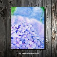 Hydrangea Purple Blue Pink Flowers Green Summer by SuisaiGenki, $20.00
