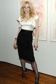 """Celebrating Courtney Love's Debut Exhibit of """"She's Not Even Pretty"""" and After-Party.  This must have been after the After-Party..."""
