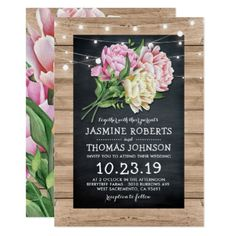 #country - #Rustic Pink Floral Chalkboard Lights Wedding Card