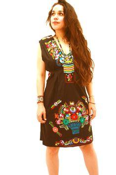 Mexican Dress Black Vintage Floral V Neck by Aida Coronado