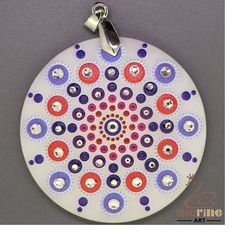 JEWELRY PENDANT PAINTED MANDALA WITH GLASS BEAD WHITE GEMSTONE ZR8000791 #ZL #Pendant