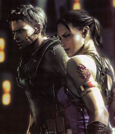 Resident Evil 5 - Chris Redfield and Sheva Alomar, to be honest I don't like Sheva. She's not much help in Resident Evil 5 and just gets in the way. Resident Evil 5, Sci Fi Characters, Video Game Characters, Videogames, Mundo Dos Games, Evil Games, Evil Art, Jill Valentine, Games For Teens
