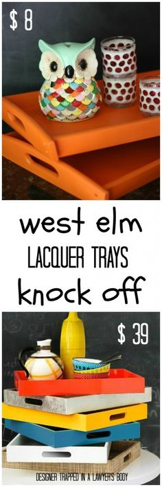 MUST PIN! West Elm knock off Lacquer Trays for a fraction of the cost! #westelmknockoff