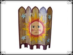 Sun Hand Painted Mexican Room Divider