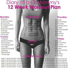 Diary of a Fit Mommy   12 Week Home Workout Plan. No gym or equipment needed!