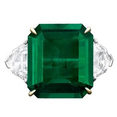Natural Colombian Emerald Ring & Diamond Ring - 1stdibs.com