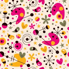 Funky cartoon retro pattern Royalty Free Stock Vector Art Illustration