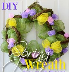 Celebrate the arrival of spring by making a deco mesh flower wreath. This cute DIY wreath will last through the whole season, and is per...