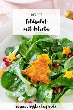 Rezept Vorspeise Weihnachten: Feldsalat mit Polenta und Granatapfel - Weihnachten Menü #weihnachtsessen #feldsalat