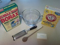 Homemade Laundry Detergent    Grate 1 bar of zote, ivory, or castile soap. Add 1 C borax and 1 C washing soda. Mix together until an even powder is achieved. Use a heaping tablespoon in your loads, 2 for extra soiled loads.    For a natural fabric softener, add 1/2-3/4 C vinegar to the final rinse cycle. (Don't worry, your clothes don't smell like vinegar, and the vinegar helps to deter any build-up in the washing machine!)