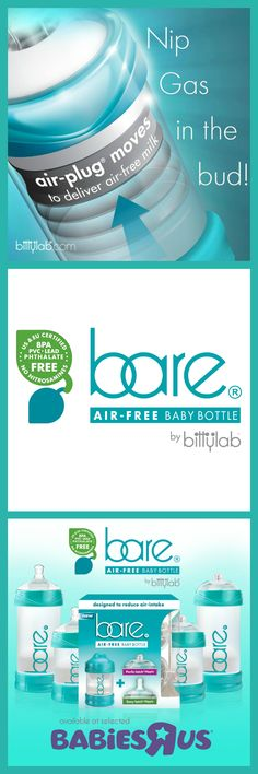 Bare® air-free bottles help breastfeeding moms reduce colic and gas symptoms in baby and provide an as close-to-nature nipple to help babies avoid nipple confusion! Add this to your baby gear must-have's! #bareairfreebottles