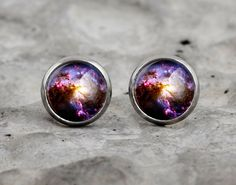Galaxy earrings, space nebula ear studs, small glass ear studs, blue earrings, es25