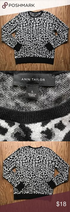 Ann Taylor Sweater Ann Taylor Sweater in excellent condition.  Size:L Color: Black and Grey Ann Taylor Sweaters Crew & Scoop Necks