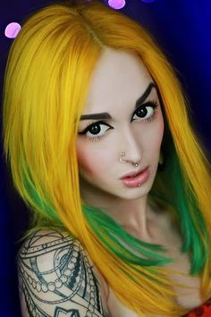 Yellow and green hair