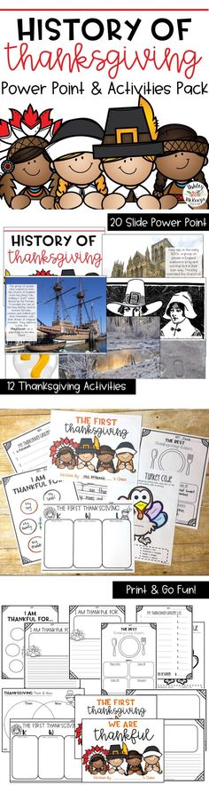 A Lesson on the first Thanksgiving and the history of why we celebrate it! Includes power point and Activities. Holiday Themes, Holiday Activities, Classroom Activities, Learning Activities, Teaching Resources, Teaching Ideas, Classroom Ideas, Thanksgiving History, Thanksgiving Preschool