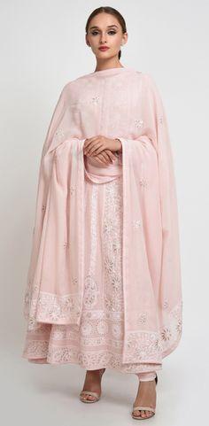 Nude Pink Chikankari And Gota Patti Anarkali Pure Georgette Suit