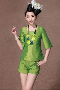 Green Half Sleeve Blouse with Split Side Shorts
