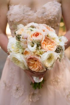 we can't help but Love this gorgeous blush and cream bouquet!