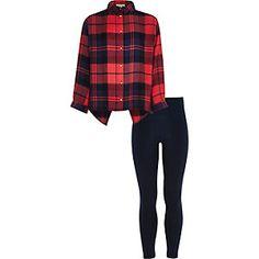 Set met rood geruit overhemd en legging voor meisjes