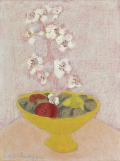 thunderstruck9:Milton Avery (American, 1885-1965), Tender still life (Bowl with orchids), 1956. Oil on canvasboard, 16 x 12 in.