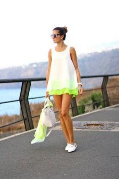 splicUSA.com: She looks pretty that she wears fresh colors dress.  #womensoutfit #fashion #lifestyle