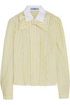 Prada - Bow-embellished Ruffled Striped Cotton Shirt - Pastel yellow - IT38