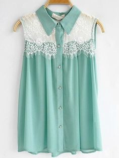 mint and lace sleeveless blouse
