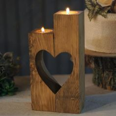 Reclaimed Wood Heart Cut-Out Candle Holder-Wedding-GFT Woodcraft #WoodworkingTools