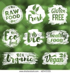Labels, logos and badges set with healthy, eco, organic and raw food diet designs for meal and drink, shops, cafe, restaurants and products packaging. Vector illustration. - stock vector #RawFoodDiet