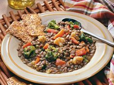 Lentil and Mixed-Vegetable Casserole.   Vegetarian 1 pot meal in the crockpot, easy-peasy!