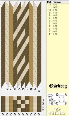 10 cards, 3 colors, single row repeat, Oseberg