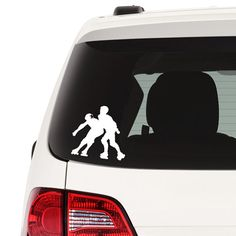Advertise your love of roller derby with the great decal of a jammer evading a blocker!  Don't you want other drivers to know why you are juking in and out of traffic?  Get yours here: http://www.etsy.com/listing/458525910/roller-derby-decal-roller-derby-car