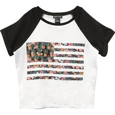 Tropical Flag Crop Tee ($19) ❤ liked on Polyvore featuring tops, t-shirts, crop top, raglan t shirt, short sleeve tees, white crop top, white crew neck t shirt and american flag t shirt