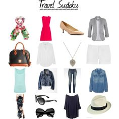 Travel Sudoku - versatile by itoshiibaka on Polyvore. For travelling light and looking great doing it! Plenty of dressy and casual options!