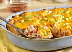 """There's a reason this casserole is called """"The King."""" This easy king ranch casserole is super simple to make and tastes amazing. Once you try this recipe for Beyond Easy King Ranch Casserole, you'll have your new go-to dinner recipe! Turkey Recipes, Mexican Food Recipes, Chicken Recipes, Mexican Dishes, Great Recipes, Favorite Recipes, Yummy Recipes, Potluck Recipes, Dinner Recipes"""