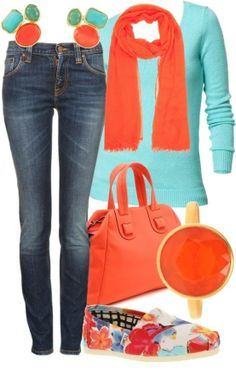 Try doing my orange tints for fall, winter with choc brown shoes, jacket.