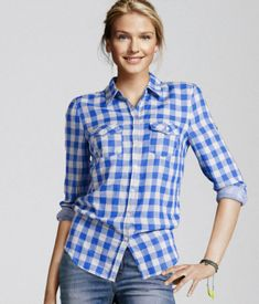 Blue checkered shirt <3