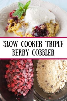 Slow Cooker Triple Berry Cobbler - Mindee's Cooking Obsession This slow cooker triple berry cobbler is an easy satisfyingly sweet mixed berry dessert! So get out your crockpot and keep your kitchen cool! Crockpot Dessert Recipes, Crock Pot Desserts, Kid Desserts, Slow Cooker Desserts, Crockpot Meals, Cooker Recipes, Crock Pots, Triple Berry Cobbler, Mixed Berry Cobbler