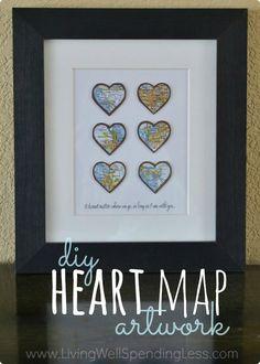 What a fun idea! DIY Heart Map Art - Living Well Spending Less™
