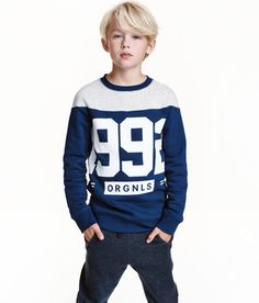 Printed Sweatshirt | Dark blue | Kids | H&M US