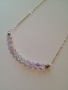 Pink & Clear Crystal Necklace by SharonKrug on Etsy, $29.95
