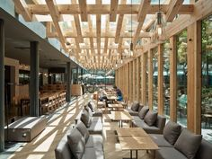 Kooo architects has added wooden beams to a cafe in China to form a woven lattice across the ceiling that lets in light Outdoor Restaurant, Cafe Restaurant, Restaurant Design, Cafe Exterior, Interior Exterior, Architecture Details, Interior Architecture, Wooden Cafe, In China
