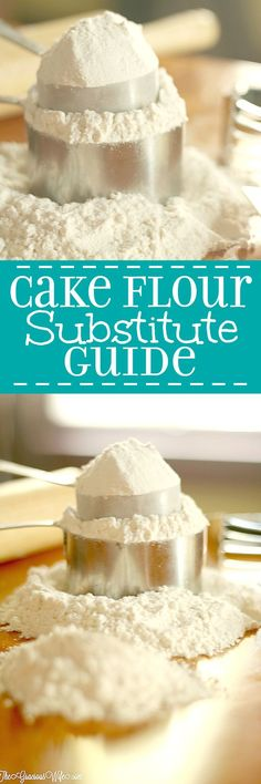 A helpful Cake Flour Substitute guide for when you don't have any on hand. Simple and easy, with just 2 ingredients, but super effective. Sure to make your cake amazing! | cooking hacks | kitchen hacks | life hacks